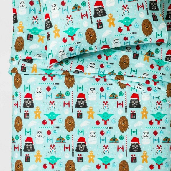 Star Wars Bedding Nwt Star Wars Christmas Full Flannel Sheet Set Poshmark